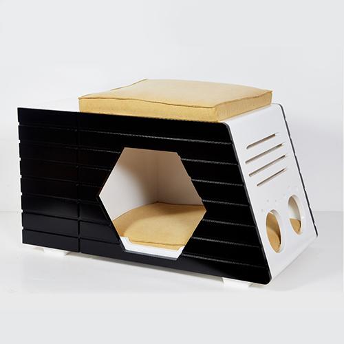 블랙 원목하우스 고양이 강아지 TD-H03(쿠션 포함)